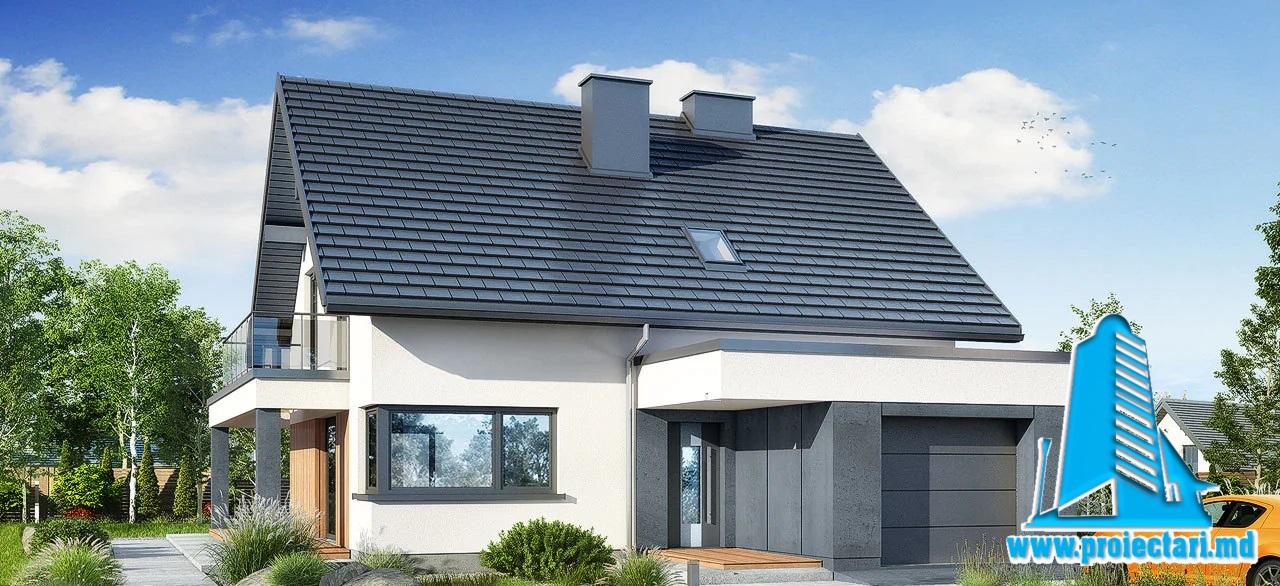 Proiect Casa cu parter si mansarda   216.9m2 – 101113