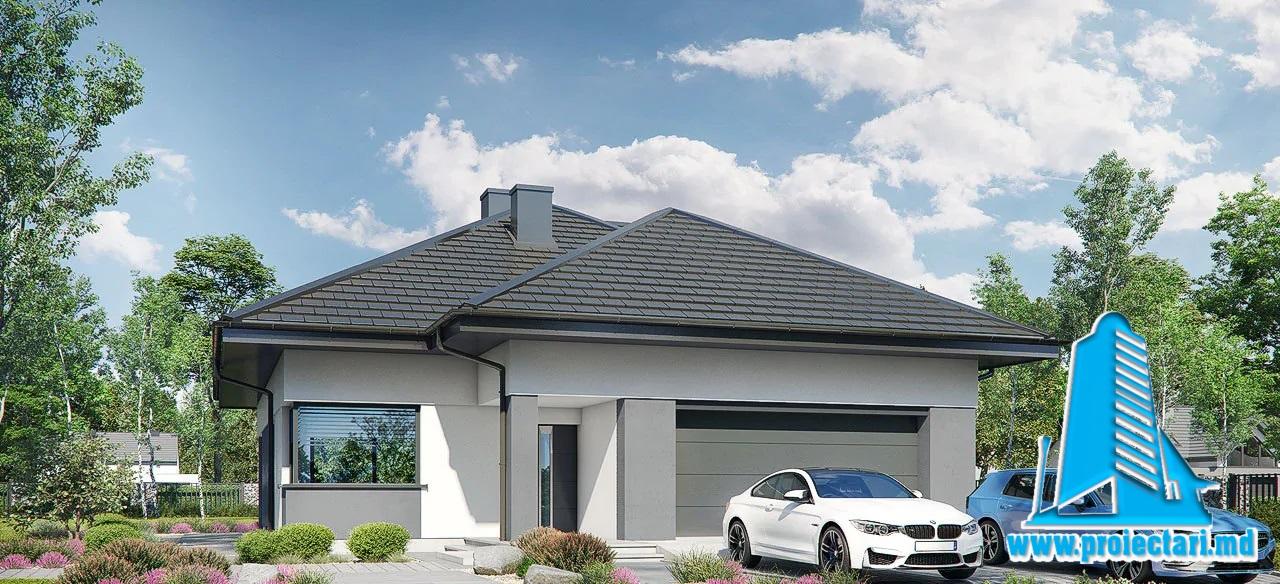 Proiect Casa cu parter si mansarda si garaj pentru un automobil   288m2 – 101109
