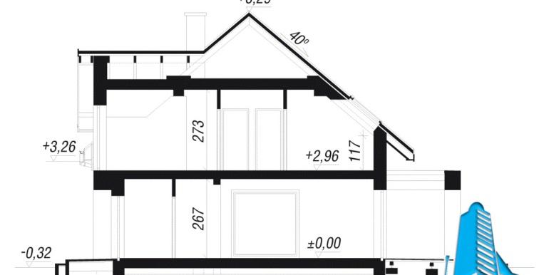 sectiune proiect de casa cu mansarda