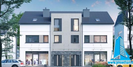 Proiect Casa duplex cu 3 nivele 252,9m2 – 101129