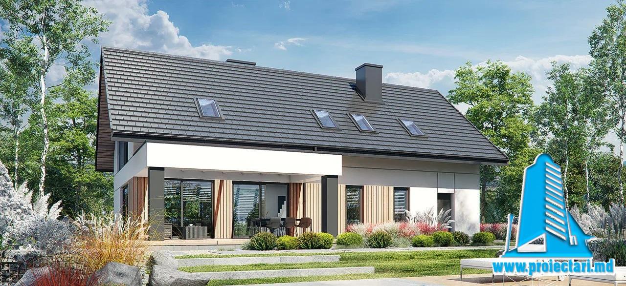 Proiect Casa cu mansarda 295,4m2 – 101125
