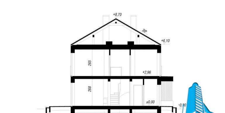 sectiune Проект двухэтажного дуплекса