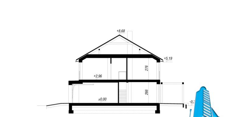 sectiune Проект дуплекс с двумя этажами