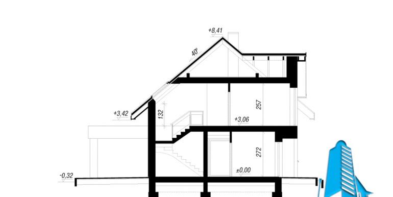sectiune проект дома с мансардой