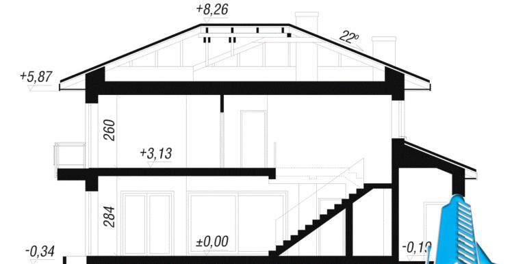 sectiune fatada проект двухэтажного дома